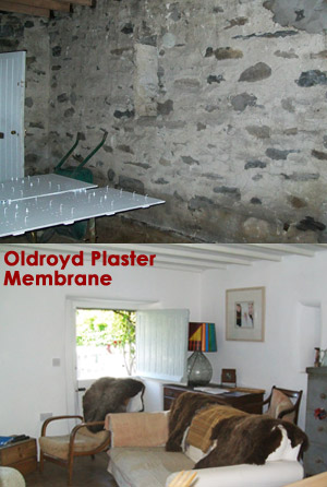 Membrane damp proofing plastered