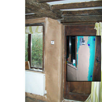 click to enlarge image and see damp proofing membrane in use!