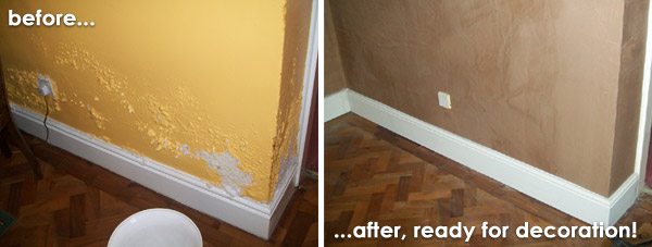 Before and after membrane damp proofing system